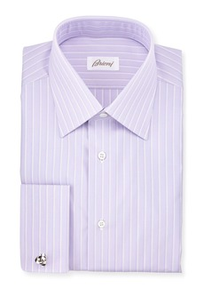 Brioni Satin-Stripe French-Cuff Dress Shirt
