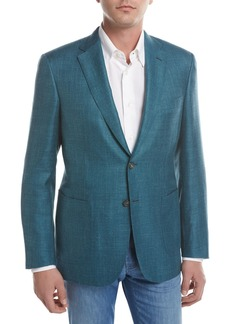 Brioni Solid Wool-Silk-Linen Two-Button Blazer