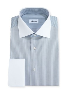 Brioni Striped Dress Shirt with Contrast Collar & Cuffs
