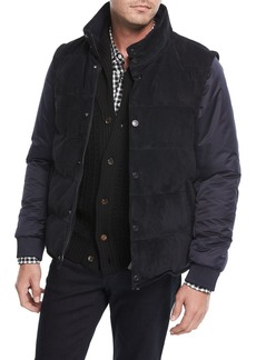 Brioni Suede Puffer Jacket w/ Removable Sleeves