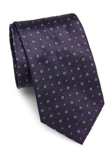 Brioni Textured & Embroidered Raw Silk Tie