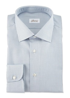 Brioni Textured-Check Long-Sleeve Dress Shirt