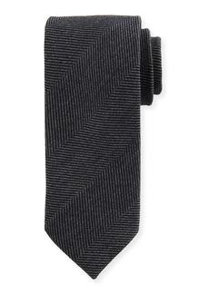 Brioni Tonal Chevron Wool-Silk Tie