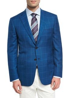 Brioni Windowpane Wool-Linen-Silk Sport Coat