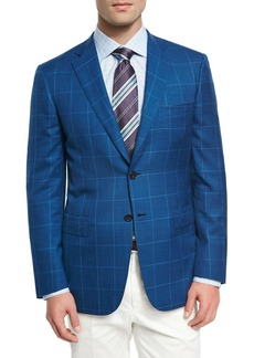 Brioni Windowpane Wool-Linen-Silk Sport Coat