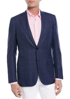 Brioni Windowpane Wool-Silk Jacket