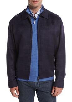 Brioni Wool-Blend Plaid Blouson Jacket