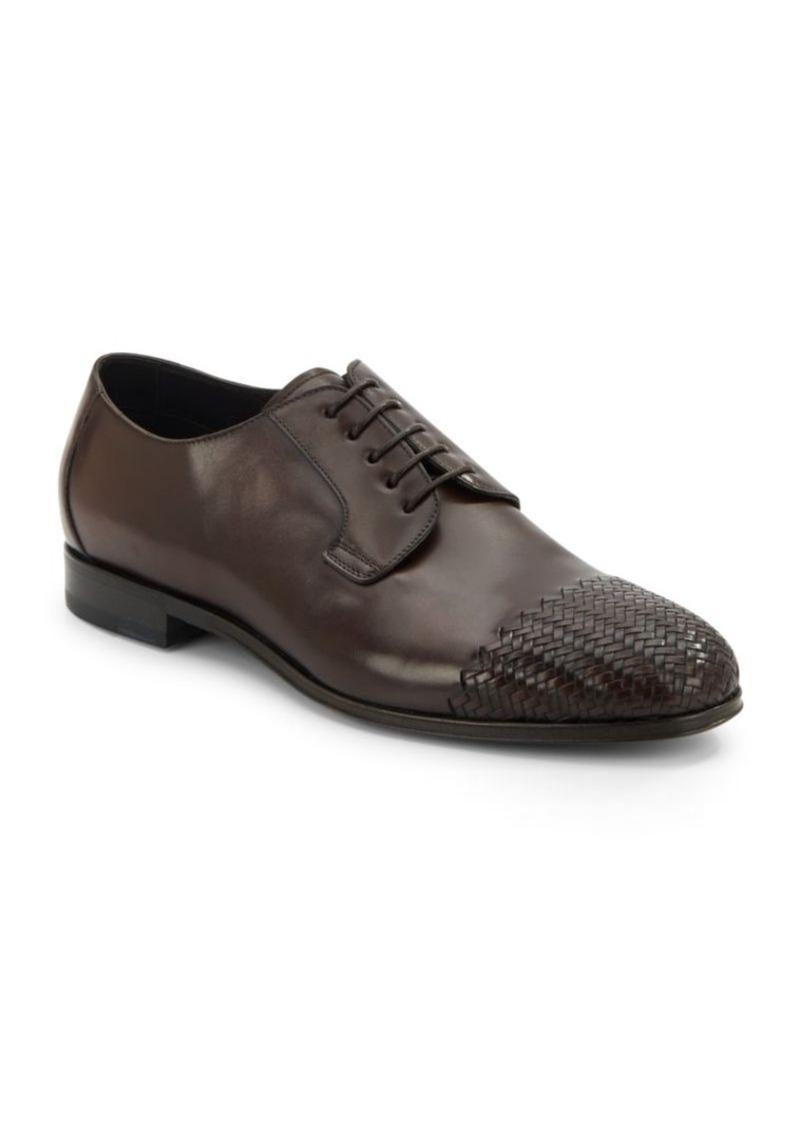 Brioni Wove Cap-Toe Leather Derby Shoes