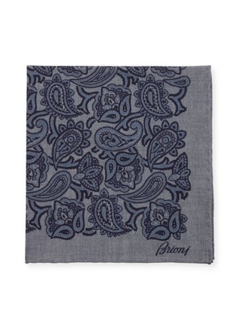 Brioni Chambray Paisley Pocket Square