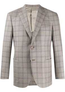 Brioni checked print blazer