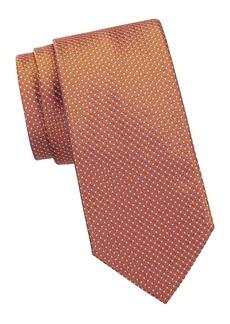 Brioni Circle-Print Silk Tie