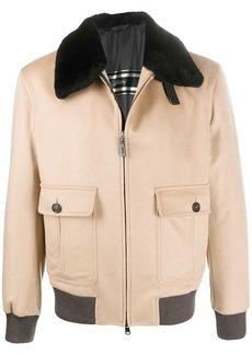 Brioni contrasting-trimmed bomber jacket