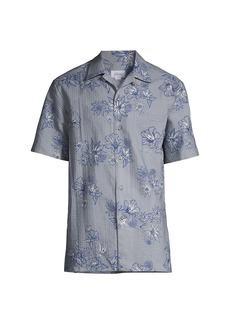 Brioni Floral-Print Seersucker Camp Shirt