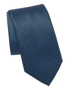 Brioni Geometric Leaf Print Silk Tie