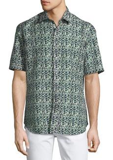 Brioni Geometric Linen-Blend Short-Sleeve Sport Shirt