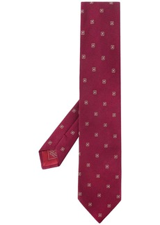 Brioni geometric-pattern pointed tie