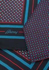 Brioni geometric-pattern silk tie set