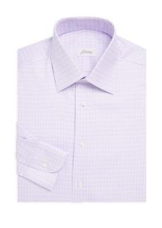Brioni Grid Classic-Fit Cotton Dress Shirt