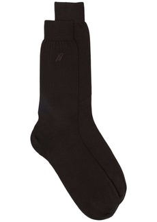 Brioni intarsia knit logo socks