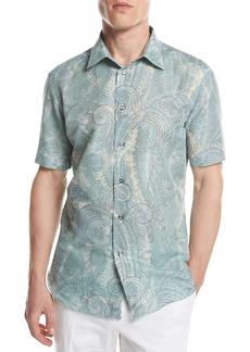 Brioni Large Paisley Short-Sleeve Sport Shirt
