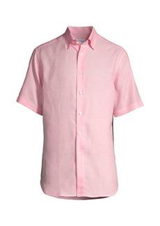 Brioni Linen Short-Sleeve Button-Front Shirt