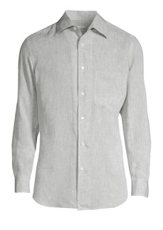Brioni Long-Sleeve Linen Button-Down Shirt