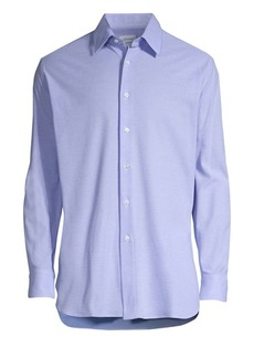 Brioni Long-Sleeve Pique Button-Down Shirt