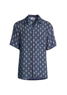 Brioni Medallion-Print Short-Sleeve Button-Front Shirt