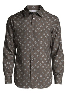 Brioni Medallion-Print Silk Shirt