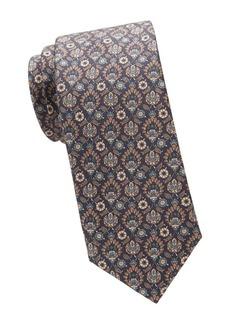 Brioni Medieval Floral Print Silk Tie