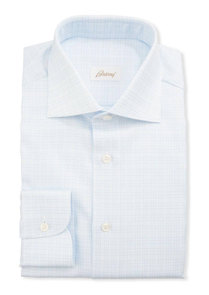 Brioni Men's 3-Line Check Dress Shirt