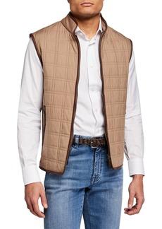 Brioni Men's Box Quilt Silk Vest w/ Leather Trim