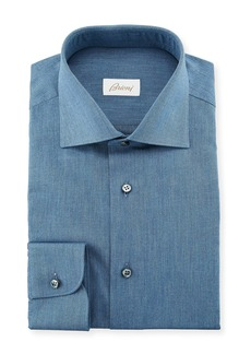 Brioni Men's Chambray Dress Shirt
