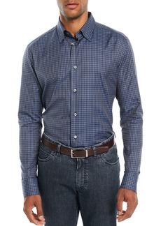 Brioni Men's Check Cotton Sport Shirt  Blue