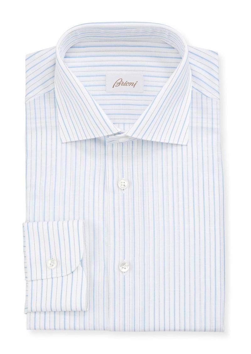 Brioni Men's Cotton-Linen Striped Dress Shirt