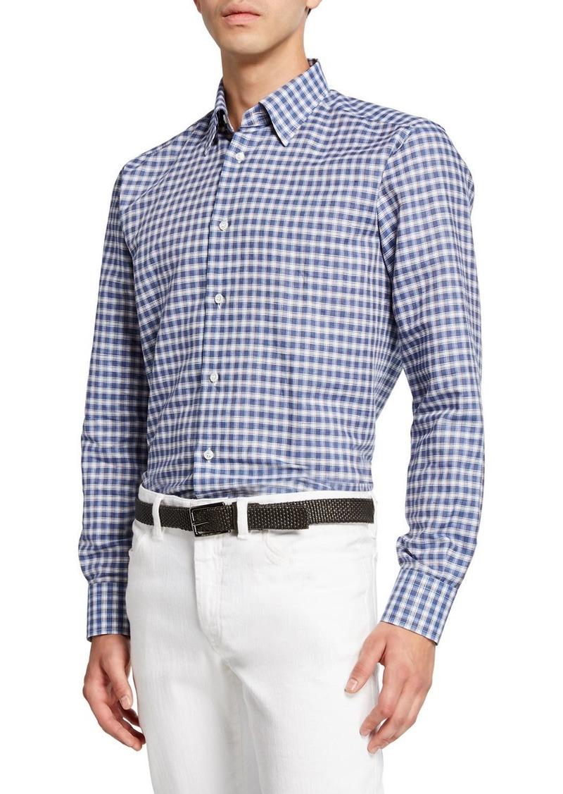Brioni Men's Cotton/Linen Check Sport Shirt