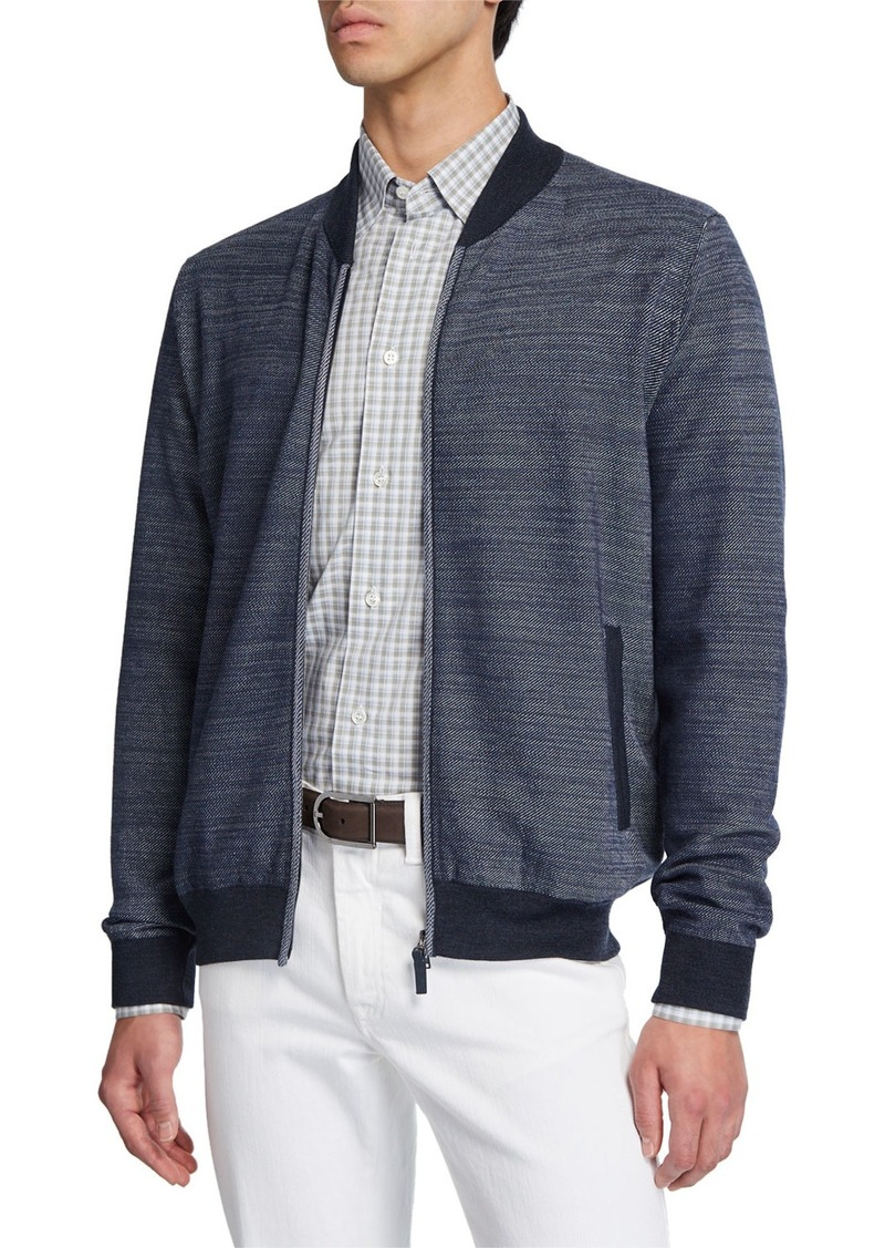Brioni Men's Diagonal Weave Zip-Front Cardigan with Elbow Patches