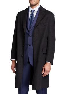 Brioni Men's Double-Face Knit Unlined Topcoat