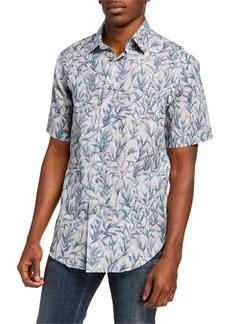 Brioni Men's Floral Linen-Cotton Sport Shirt