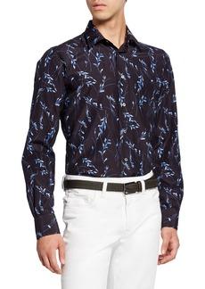 Brioni Men's Floral-Print Sport Shirt