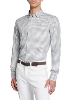 Brioni Men's Grid Check Cotton Dress Shirt
