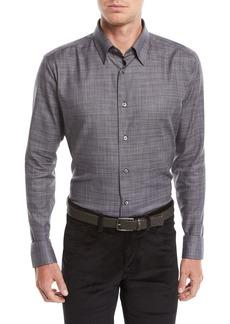 Brioni Men's Heathered Cotton Shirt