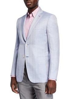 Brioni Men's Herringbone Wool-Silk Two-Button Jacket