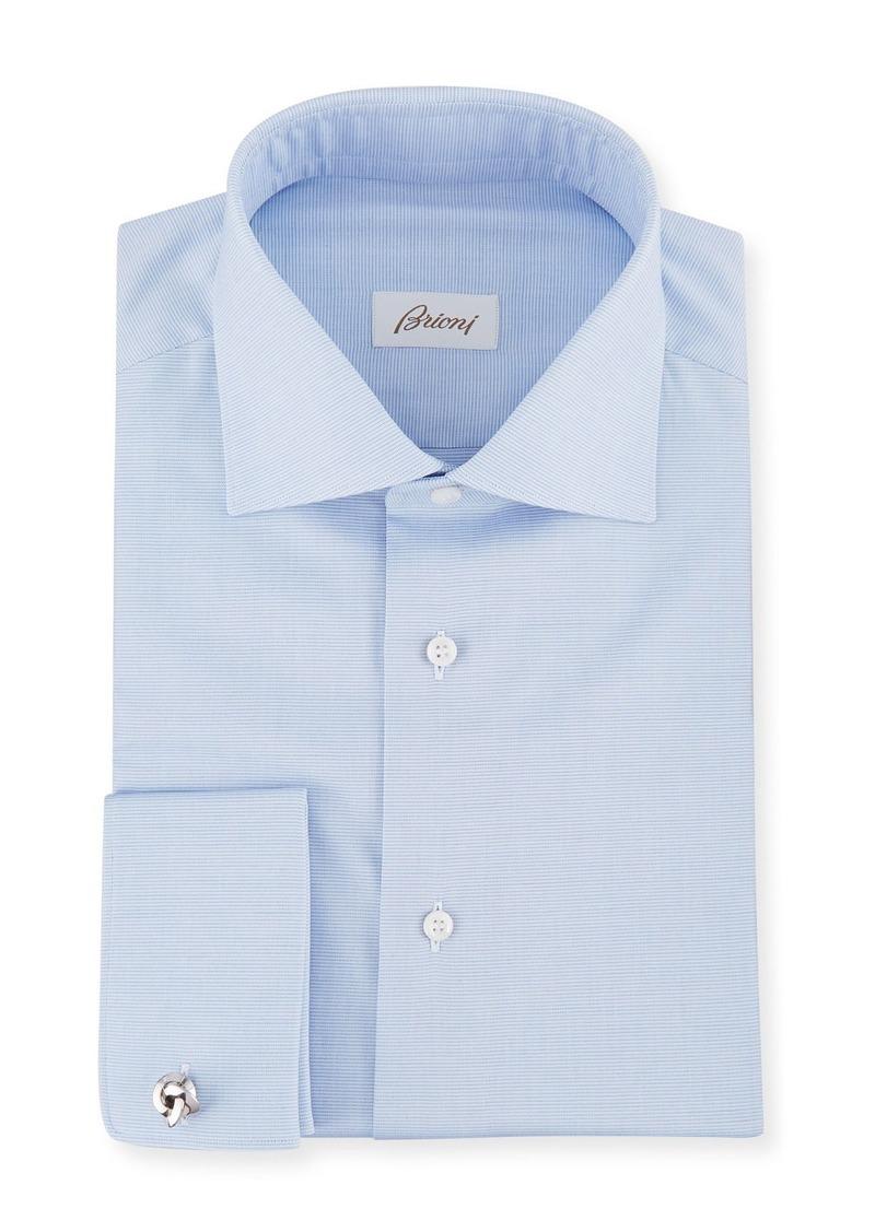 Brioni Men's Horizontal Weave French-Cuff Dress Shirt