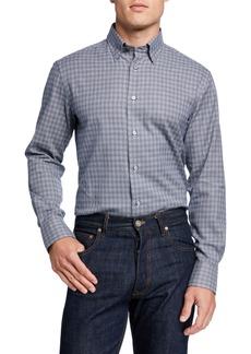 Brioni Men's Houndstooth Cotton-Cashmere Sport Shirt