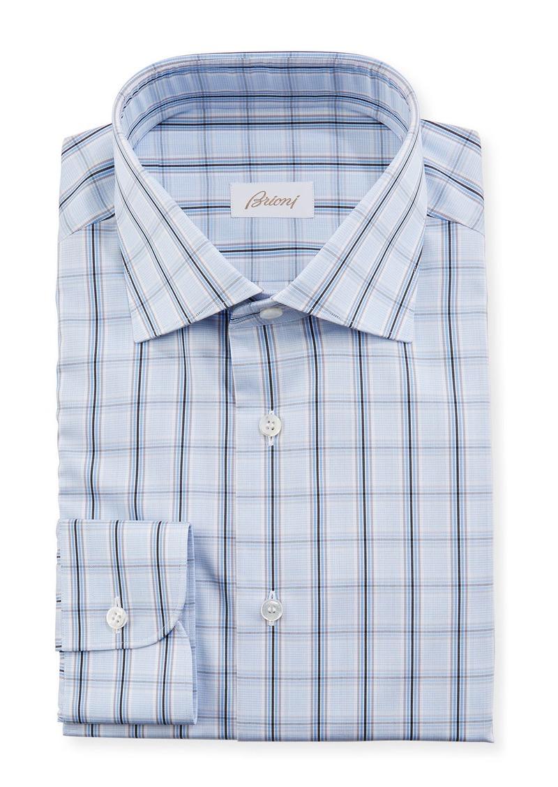 Brioni Men's Large Plaid Dress Shirt