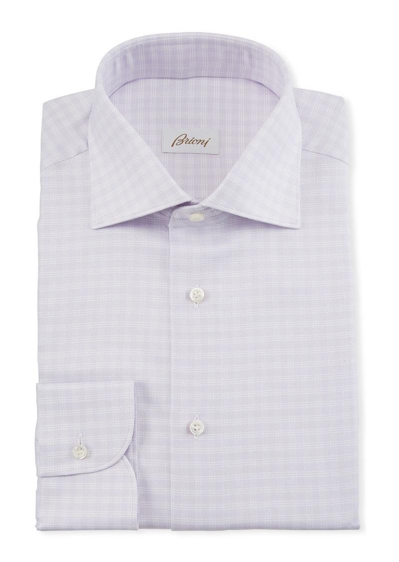 Brioni Men's Lavender Plaid Dress Shirt