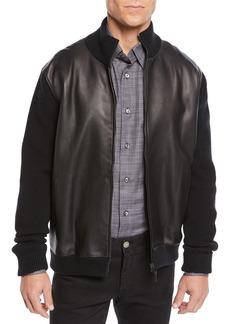 Brioni Men's Leather-Front Zip Knit Blouson Jacket