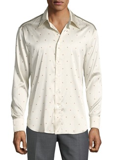 Brioni Men's Long-Sleeve Dollar-Sign Silk Shirt  Blue