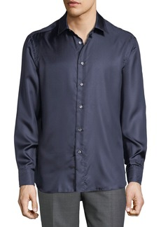 Brioni Men's Long-Sleeve Fitted Silk Shirt